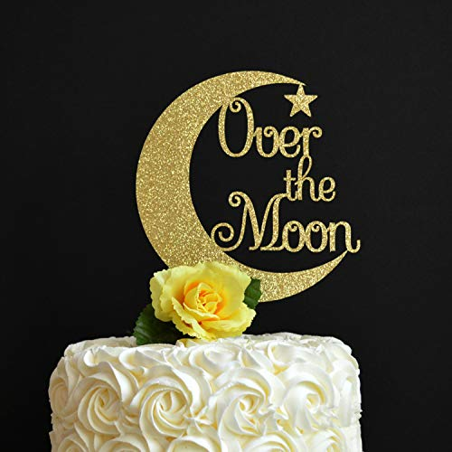 Over The Moon Cake Topper Glitter Cake Topper Nursery Rhyme Theme Baby Shower Cow Jumped Over The Moon 1St Birthday First Birthday (Cow Jumped Over The Moon Nursery Rhyme)