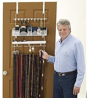 Menu0027s Over The Door/Wall Belt Tie Valet Organizer   WHITE Menu0027s Organizer    Patented