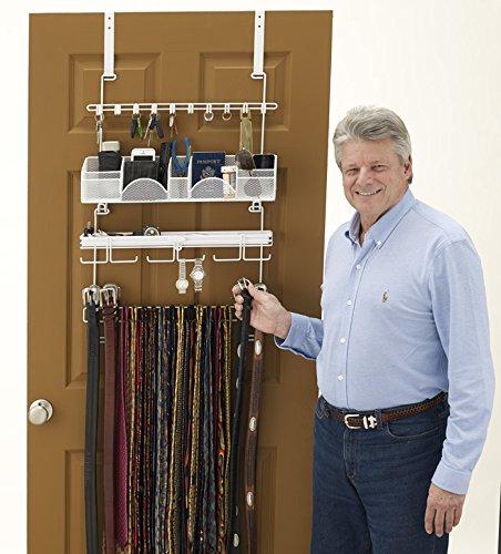 Wall Valet - Longstem Men's Over the Door/Wall Belt Tie Valet Organizer - WHITE men's organizer - Patented - Rated Best!