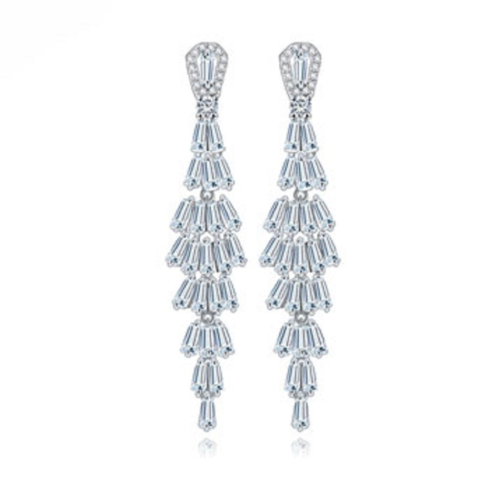 JNA Collection White Gold Plated CZ Cubic Zirconia Crystals Tassel Bridal Long Drop Dangle Earrings for Party Wedding Engagement Graduation Prom