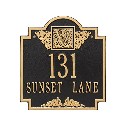 (Whitehall Products Monogram Standard Square Black/Gold Wall 2-Line Address Plaque)