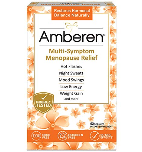 Menopause Soy - Amberen: Safe Multi-Symptom Menopause Relief. Clinically Shown to Relieve 12 Menopause Symptoms: Hot Flashes, Night Sweats, Mood Swings, Low Energy and More. 1 Month Supply