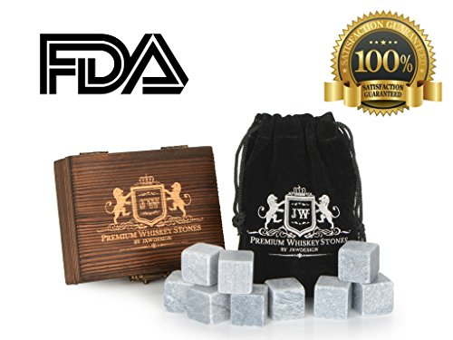 JXWDesign Premium Whiskey Stones, Classy Gift Box Set of 9 Pure Soapstone with Velvet Carrying Pouch. Reusable Drink Chiller. ()