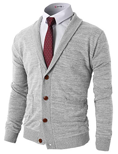 H2H Mens Basic Shawl Collar Knitted Cardigan Sweaters with Ribbing Edge LightGray US M/Asia L (CMOCAL07)