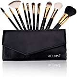 ACEVIVI 10 Pieces Makeup Brushes Set with Powder Blusher Cosmestic Kabuki Brushes with Synthetic Leather Case Black