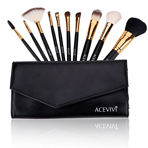set of 10 cosmetic brushes by ACEVIVI