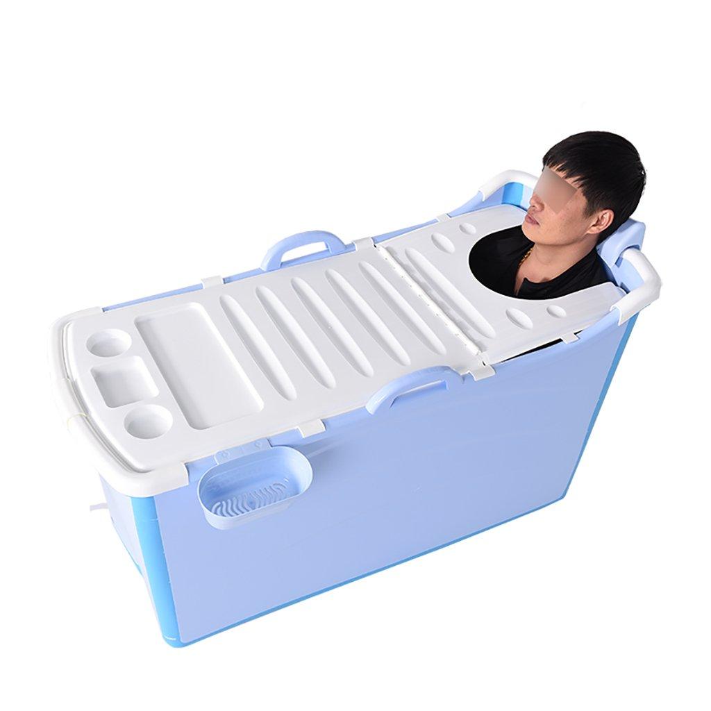 bluee 1235268cm NYJS Folding Bathtub,Portable Bathtub, Folding Bathtub Adult Bath Barrel Wear-Resistant Non-Sip Insulation Reclining, Ergonomics Portable Swimming Pool Bucket High Temperature Resistance TPR,bluee