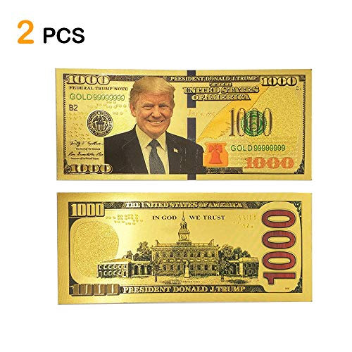 (Lechay Pack of 2 $1000 President Donald Trump 24kt Gold Plated Commemorative Bank Note ,2020 Re-Election Presidential Dollar Bill,- Keep America Great)