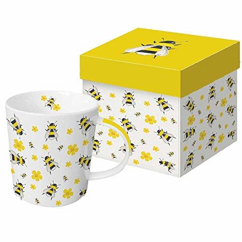 Paperproducts Design New Bone China Large Capacity Gift Boxed Mug, Dancing Bees, 13.5 oz, Multicolor Bee Mug