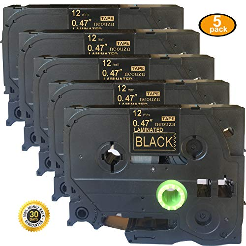 NEOUZA 5PK Compatible for Brother P-Touch Laminated Tze Tz Label Tape Cartridge 12mmx8m (TZe-334 Gold on Black)