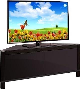 Mda Designs Volans Meuble Tv D Angle En Verre Et Bois De Noyer Pour Ecrans Lcd Plasma Led 2 Portes Noir