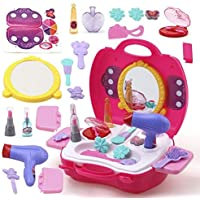 """KIDSZONE """"Beauty Make Up Case and Cosmetic Set Suitcase, Durable Kit Hair Salon with 21 Pcs Makeup Accessories for Children Girls"""""""