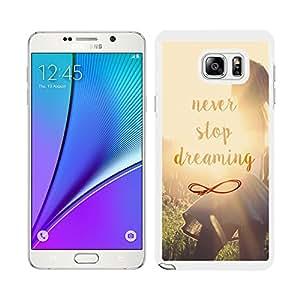 Funda carcasa para Samsung Galaxy Note 5 diseño never stop dreaming borde blanco