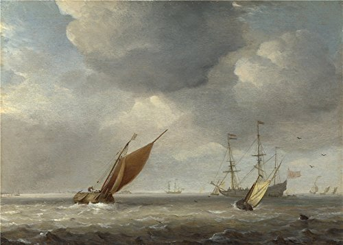 Theポリエステルキャンバスの油絵` Studio of Willem van de Velde SmallオランダVessels in a Breeze」、サイズ: 24X 34インチ/ 61x 85cm、この素晴らしいアート装飾プリントキャンバスは、フィットの廊下装飾とホームアートワークとギフトの商品画像