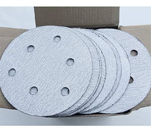 Maslin 100Pcs 5'' 125MM with 6 hole White Sander Sand Paper Sanding Disc Sanding Sheets - (Grit: 60) by Maslin (Image #3)