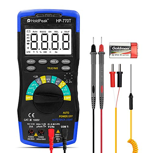 HOLDPEAK HP-770T Digital Multimeter 6000 Counts TRMS Auto Ranging Multimeters,Data Hold,NCV Digital Multimeter for AC DC Amp Ohm Volt Meter hFE Diode LED Capacitor Tester with Thermometer and Backlit