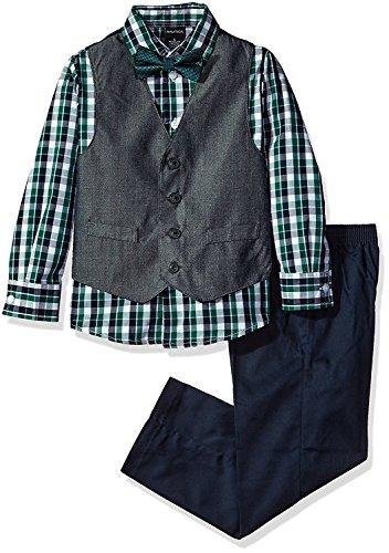 Nautica Boys' 4-Piece Vest Set with Dress Shirt, Bow Tie, Vest, and Pants, Hunter Herringbone, 7 ()