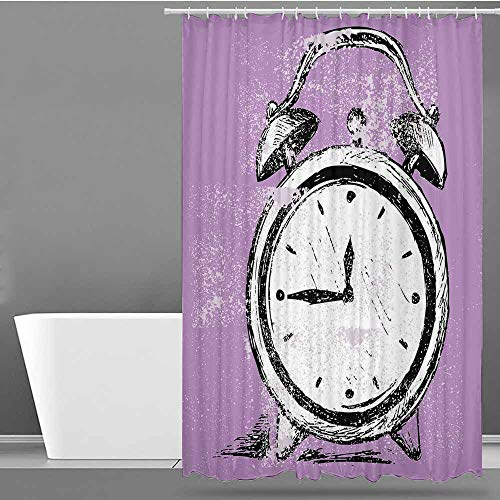 VIVIDX Bathroom Curtains,Doodle,Retro Alarm Clock Figure with Grunge Effects Classic Vintage Sleep Graphic,Shower Curtain bar,W108x72L Purple White Black