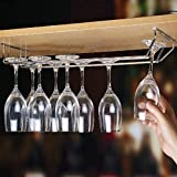 Plantex Wine Glass Rack/Holder Upside Down Glass Hanging Organizer for Pubs/Kitchen/Bars (Double Line - Large)