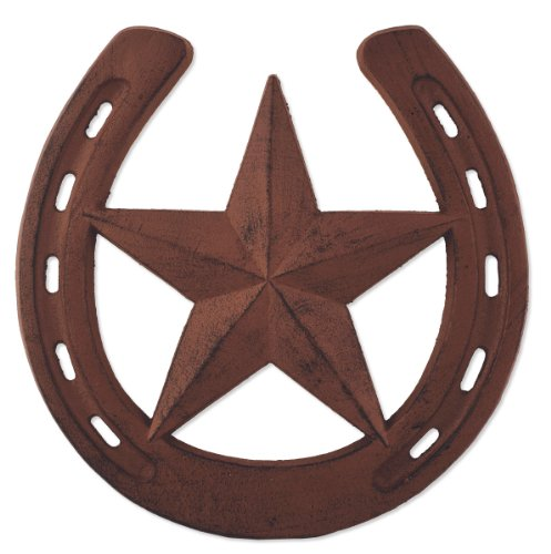 (Sunset Vista Designs Horsing Around Cast Iron Horse Shoe with Star Stepping Stone, 10-Inch Diameter)