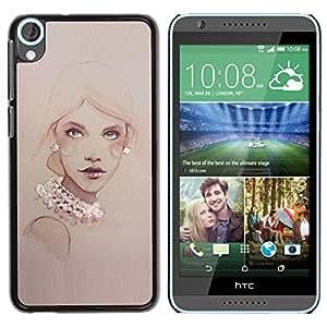 For HTC Desire 820 Case , Design Pearls Woman Art Painting - Diseño Patrón Teléfono Caso Cubierta Case Bumper Duro Protección Case Cover Funda