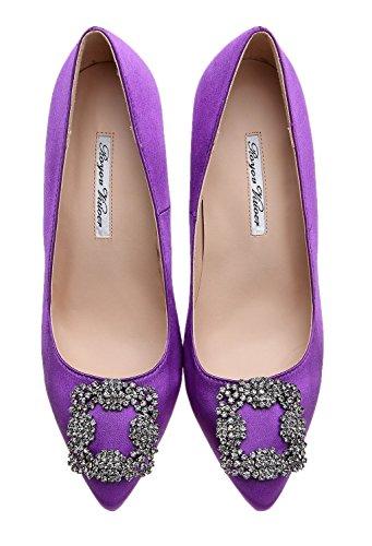 Buckle Women's Yiuoer Pumps Diamonds Shoes Royou Purple Fabric Ifwxq