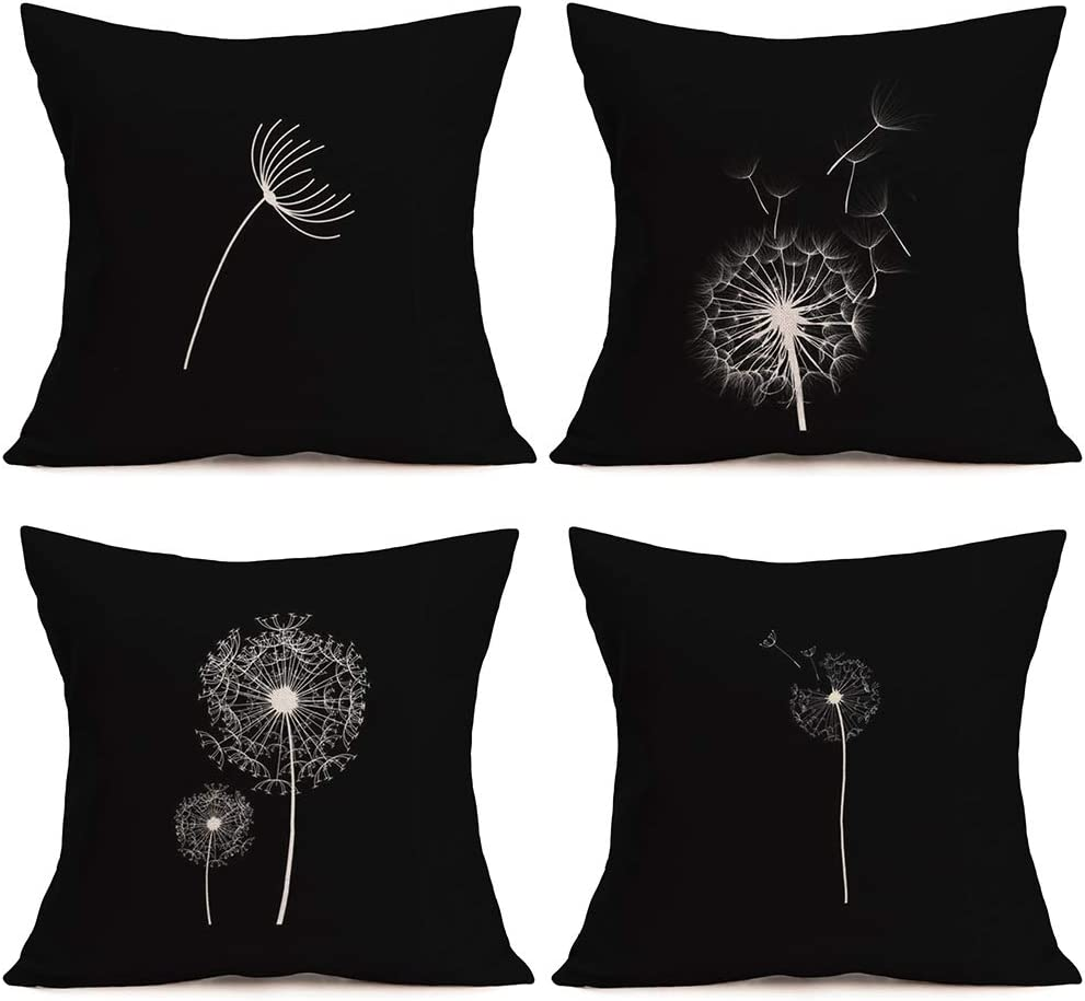 ShareJ 4 Pack Dandelion Throw Pillow Covers Cotton Linen Black Cushion Cover Monochrome Dandelions with Seeds Blowing in The Wind Fluffy Pattern Design Pillow Slips for Sofa Couch Decor 18 x 18 Inch