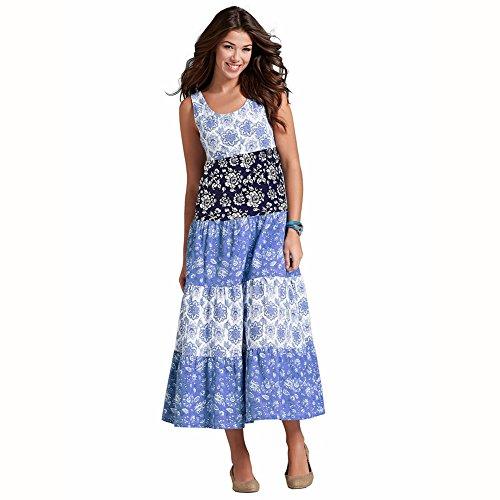 Robes Longues Imprimé Floral Style Vintage Des Femmes Koola Robe De Plage De Mode Pour Z605 Bleu Printemps Été