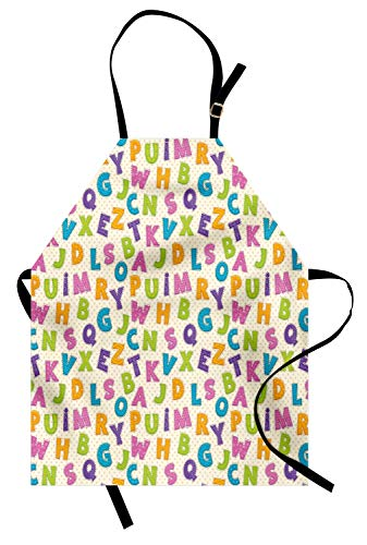 Ambesonne ABC Apron, Cute Funny Letters in Lively Colors Cartoon Style ABC Alphabet on Polka Dots Backdrop, Unisex Kitchen Bib Apron with Adjustable Neck for Cooking Baking Gardening, Multicolor ()