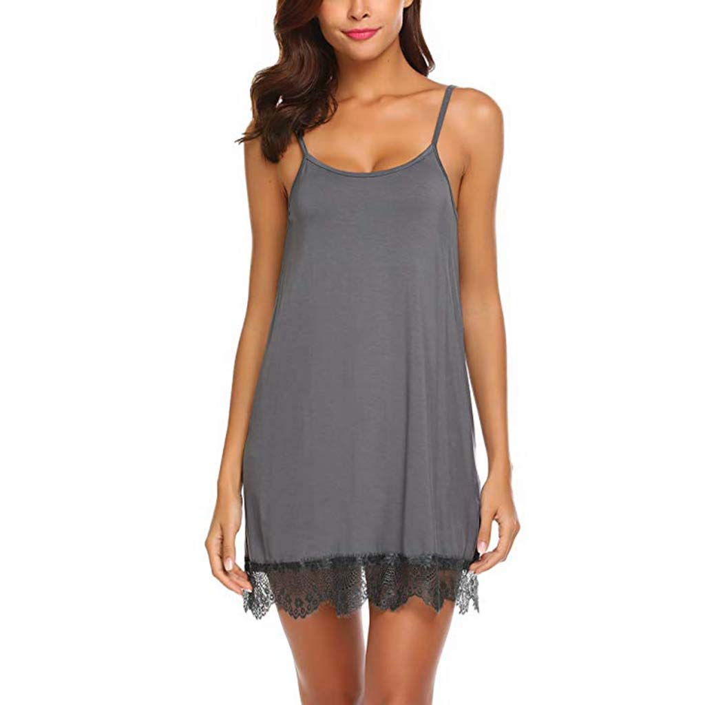 Pervobs Womens Sexy Lace Babydoll Sleepwear Nightwear Camisole Mesh Loose Lingerie Underwear Lingerie(XL, Brown)