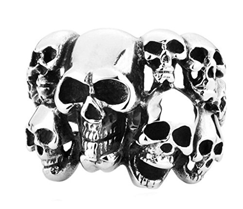 Xiangling Jewelry Men's Vintage Classic Gothic Embossed Skull Biker Stainless Steel Ring Band Silver Black, Size 14 (Gold Embossed 14k Ring)