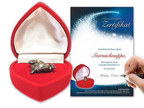 Auténtico meteorito en caja de corazón rojoIncluye certificado de meteorito con espacio para tu firma: regalo de Navidad…