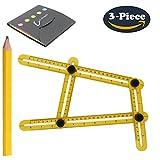Angle Measurement Tool,Multi-Angle Measuring Ruler,Template Tool for Handymen, Builders, Craftsmen, Carpenters, Roofers, Tilers, DIY-ers (Yellow)