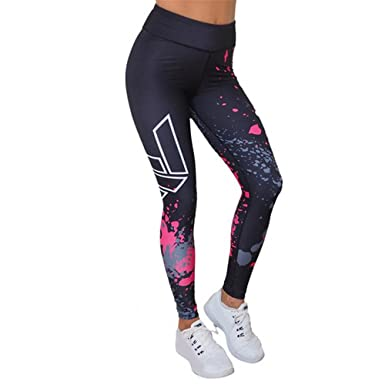 62cf538dfb5fd PEEF Yoga Pants for Women Printed Stretch High Waisted Workout Running Exercise  Leggings Pants Black: Amazon.co.uk: Clothing