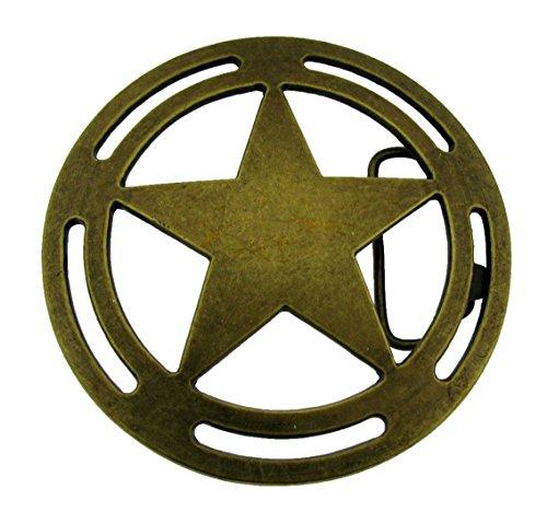 Lone Star Belt Buckle State Texas Deputy Badge Bronze Brass Metal Western Cowboy from buckleszone