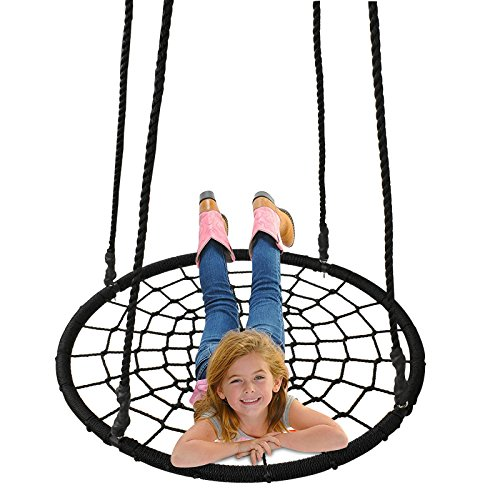 Smartxchoices 40'' Round Spider Web Tree Swing Net Swing Kids Outdoor Platform Nest Swing Spinner Swing 71