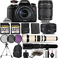 Canon EOS Rebel T6s DSLR Camera + Canon 18-135mm STM Lens + Canon 50mm 1.8 Lens + 650-1300mm Zoom Lens + 500mm Telephoto Lens + 64GB Storage + 3PC FIlter Kitce Filter Kit - International Version