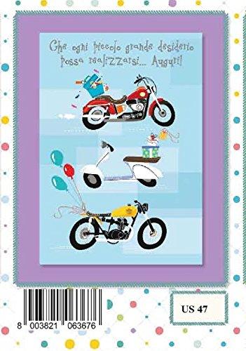 Marpimar Biglietto Auguri Compleanno Maschile Con Moto Vespa
