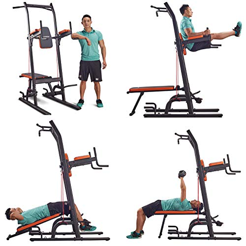 HARISON Multifunction Power Tower with Bench Home Gym Exercise Equipment, Dip Stands, Free Standing Pull Up Bars, Vertical Knee Raise, Chin-up Sit Up Station with Adjustable Height 408