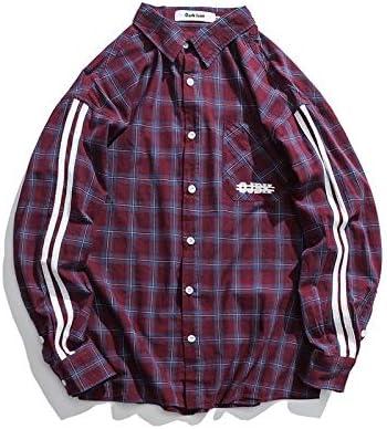 DXHNIIS Rayas en Las Mangas Franela a Cuadros Camisas de los Hombres Estilo de Muy Buen Gusto Estilo Preppy Camisas Sueltas Hombres Hombres Chico Ropa Azul Rojo L Camisa a Cuadros roja: