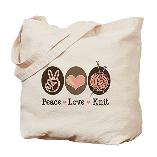 CafePress - Peace Love Knit Knitting - Natural Canvas Tote Bag, Cloth Shopping Bag (Peace Love Knitting)