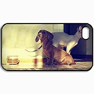 Customized Cellphone Case Back Cover For iPhone 4 4S, Protective Hardshell Case Personalized Dog Cat Bowl Room Black