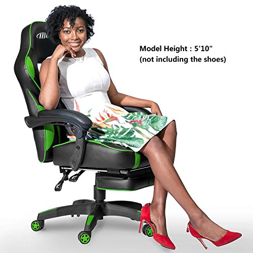 Merax Racing Office Chair Green And Black PU Leather Home