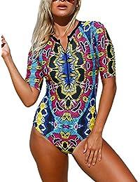 Mingnos Women Zipper Printing One Piece Swimsuit Rash Guards