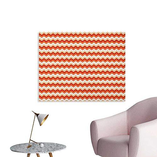 Anzhutwelve Coral Wallpaper Horizontal Chevron Pattern Arrows Geometric Design Striped Old Fashion Zigzag Art Poster Orange Coral White W36 xL24