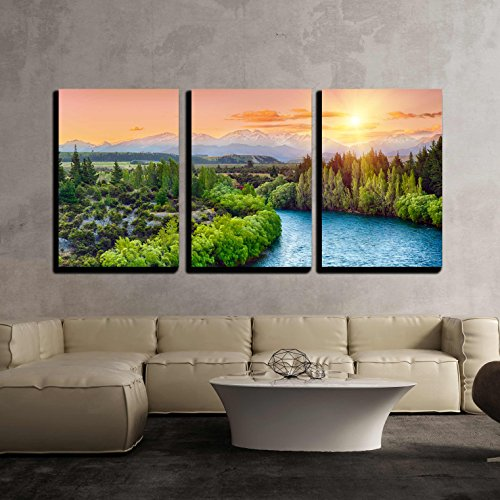 Beautiful Sunset over the Bend of the River Clutha with Southern Alps Peaks x3 Panels
