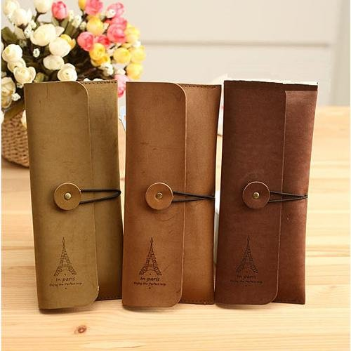 niceEshop(TM) Unique Eiffel Tower Velour Leather Pen Pencil Bags Case Pouch Pockets,Random Color With Accessory Cable Tie