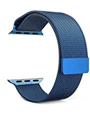 سوار ستانليس ستيل مغناطيسي من الستانلس ستيل لاجهزة ابل اي واتش 42 ملم / 44 ملم - ازرق