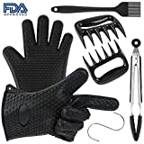 turefans Silicone BBQ Set-Heat Resistant Grill Oven/Cooking Gloves, Meat Shredder Claws, Kitchen Tongs, S Hook and Silicone Basting Brush,Super Value of Barbecue Accessories for Cooking, Barbecue
