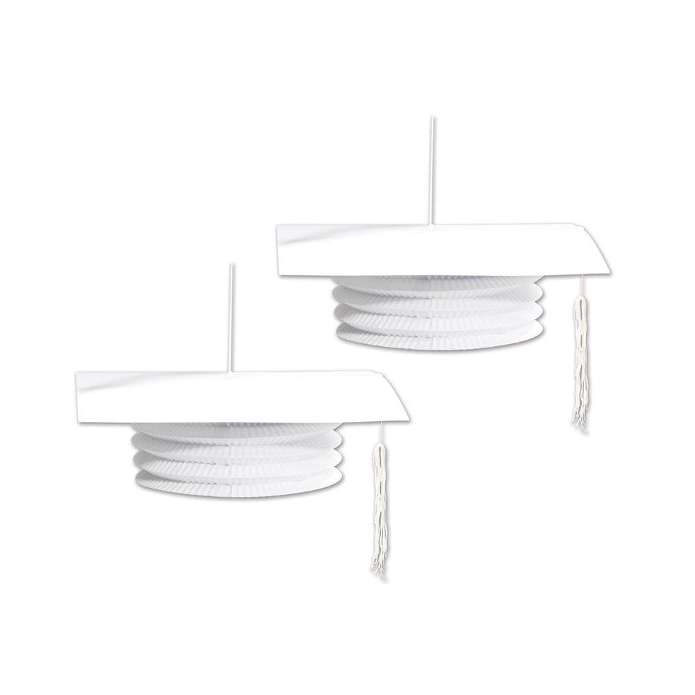 White The Beistle Company 9-Inch Beistle 54566-W Grad Cap Paper Lanterns